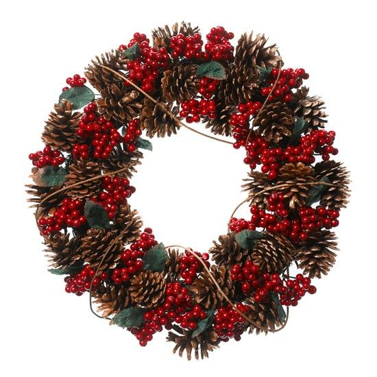 Frosty pine cone and berry wreath by Linea at House Of Fraser
