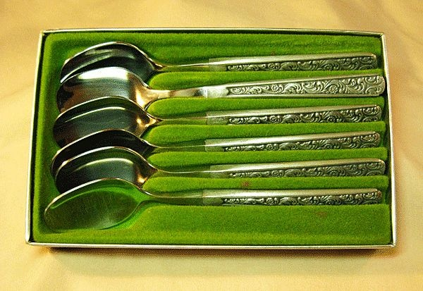 Pewter Coffee Spoons by Hardanger Norway - Rococo Pattern