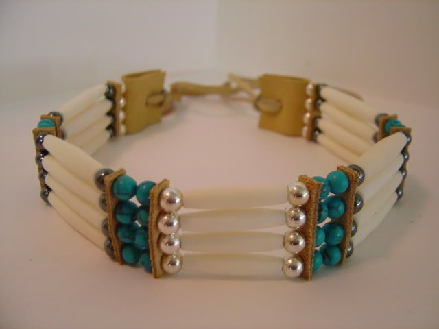 Bone Turquoise 4row Choker - Crazykid's Cherokee Indian Art Fine Bone Horn Hairpipe Chokers and Necklaces