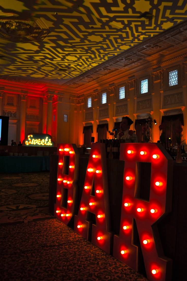 This was the first thing you saw when you walked in the Heritage Ballroom at the Governor Hotel. BAR & Sweets marquee created by Bird Dog Creative.