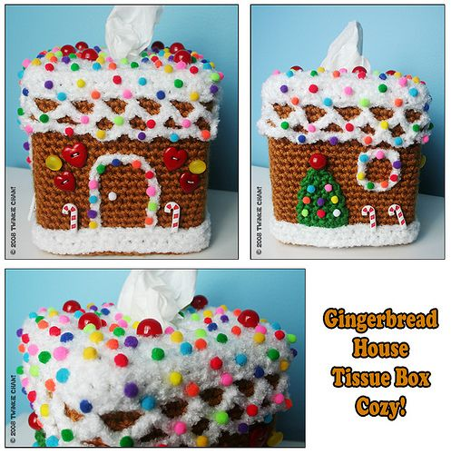Crochet Inspiration. Gingerbread House Tissue Cozy by Twinkie Chan