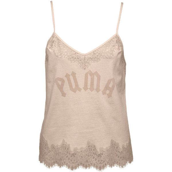 Fenty Puma By Rihanna Lace-Trim Sleepwear Camisole Top ($185) ❤ liked on Polyvore featuring tops, pink, pink cami, pink cami top, cami top, logo top and v neck cami top