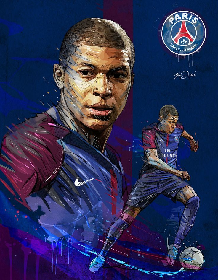 My painting of Kylian Mbappé, young soccer player of the PSG.