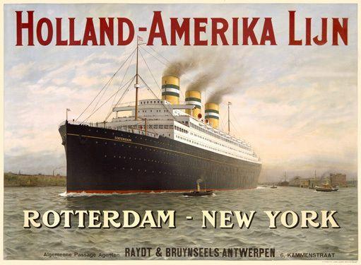 Holland America Oceanline Fine Art Deco Poster Print, 1929.
