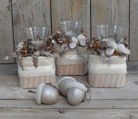 Aranyló ősz - vintage, őszi asztaldísz készlet, Dekoráció, Otthon, lakberendezés, Ünnepi dekoráció, Gyertya, mécses, gyertyatartó, Meska