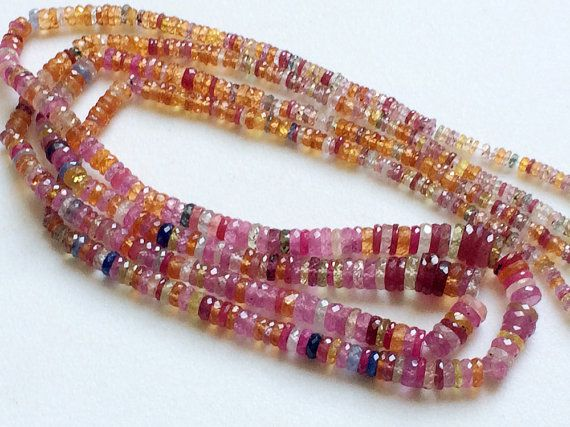 Multi Sapphire Beads Multi Sapphire Faceted Tyre by gemsforjewels