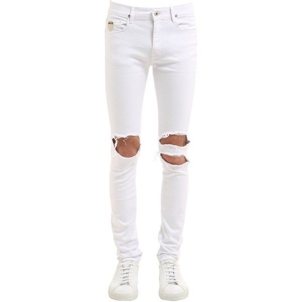 April 77 Men 16cm Joey White Destroy Skinny Jeans ($220) ❤ liked on Polyvore featuring men's fashion, men's clothing, men's jeans, men, pants, white, mens skinny jeans, mens destroyed jeans, mens jeans and mens button fly jeans
