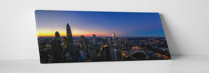 "Charlotte Night Skyline Panoramic Gallery Wrapped Canvas Print 45""X16"", 30""X16"""
