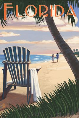 Adirondack Chairs & Sunset - Florida - Lantern Press Poster