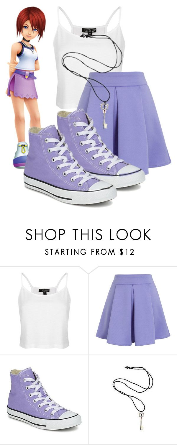 """Kairi: Kingdom Hearts"" by princessmikyrah ❤ liked on Polyvore featuring Topshop, Chicwish, Converse and Disney"