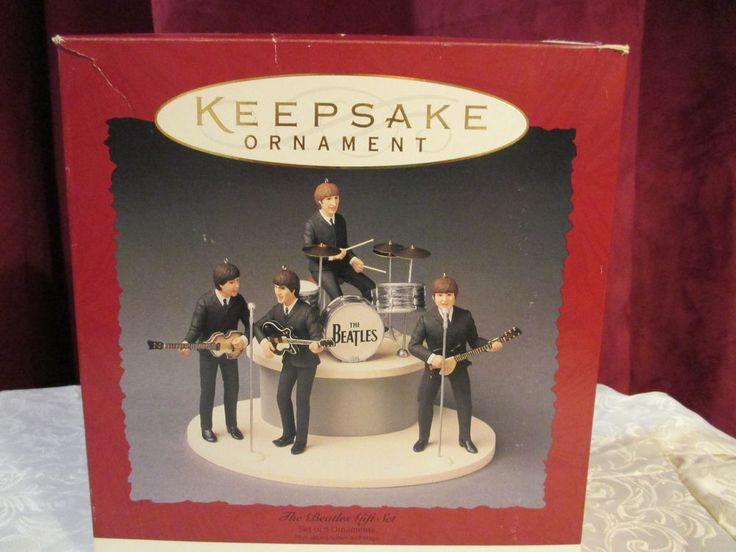 Hallmark Ornament 1994 The Beatles Gift Set 5 Ornaments Plus Microphones & Stage