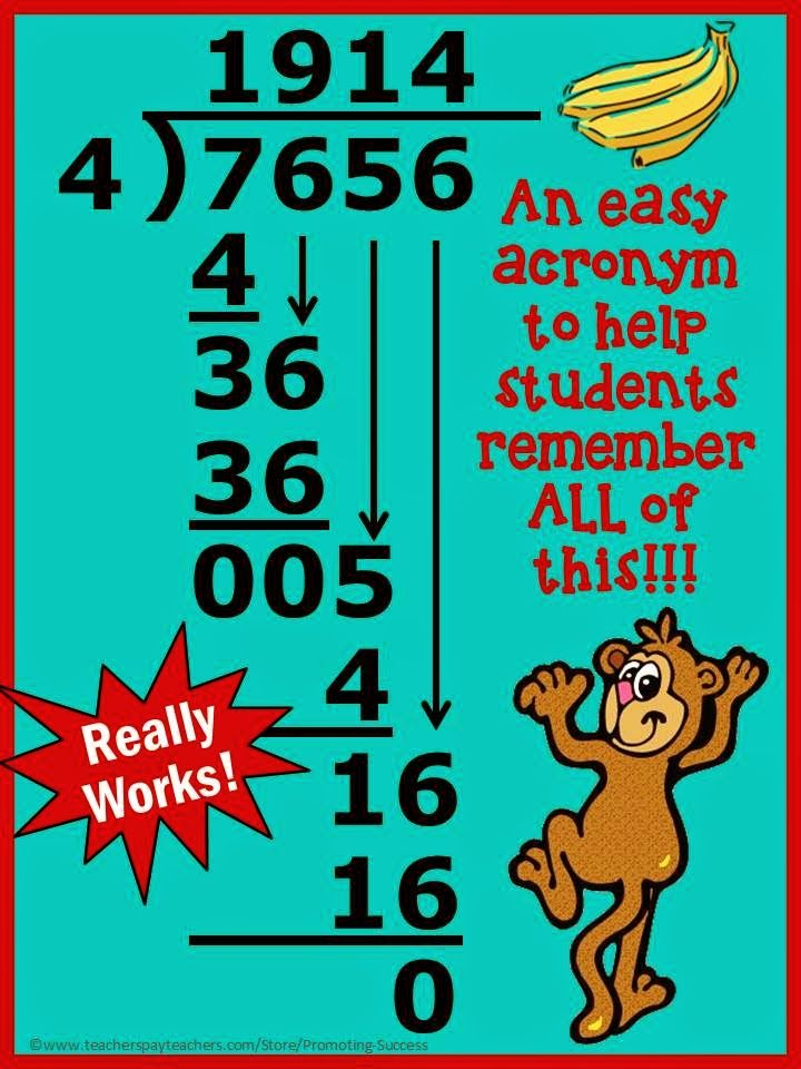 FREE Tuesday Tip - Long Division Acronym - Freebie Printable Classroom Sign