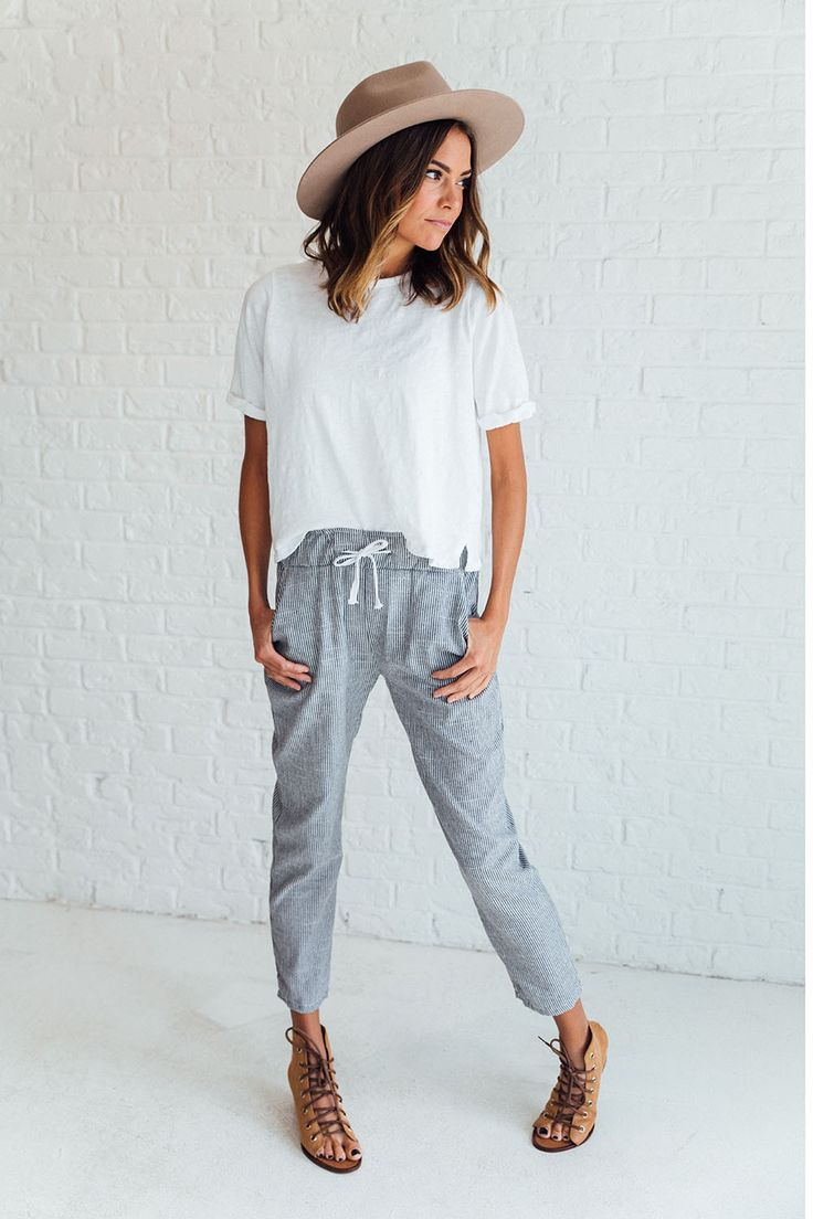 DETAILS: - Ankle-length drawstring pant - Pinstripe print - Lightweight cotton - Model is wearing size S MEASUREMENTS: - Thigh(Cm): S:54cm, M:56cm, L:58cm, XL:60cm - Hip Size(Cm): S:92cm, M:96cm, L:10