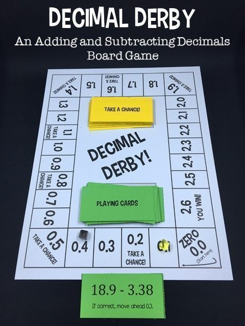 Decimal Derby is a math game that helps students practice adding decimals and subtracting decimals. In the board game, students must answer decimal problems to move their piece around the board. First player to reach the 2.6 space wins!
