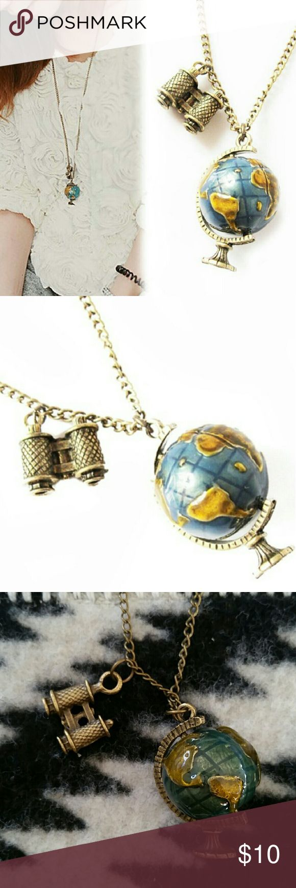 "ModCloth 3D Globe and Binocular Travel Necklace Cute 3D globe and binocular charm necklace on a 24"" bronze chain. Perfect for the globetrotter traveler. NWOT. Modcloth Jewelry Necklaces"