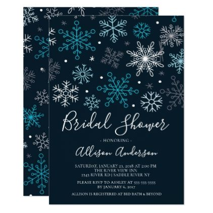 Modern Snowflakes Winter Bridal Shower Invitation - wedding invitations diy cyo special idea personalize card
