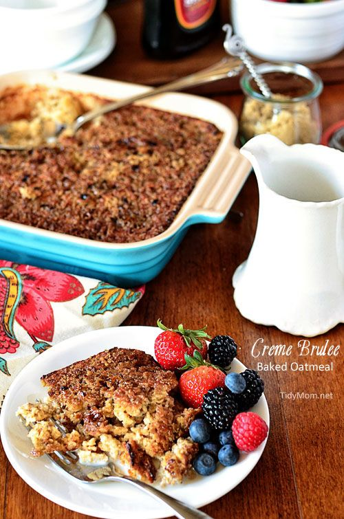 Creme Brulee Baked Oatmeal #recipe TidyMom #DairyBreakfastClub