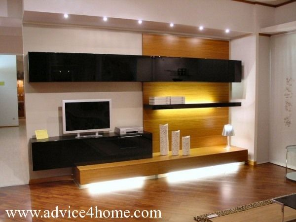 white black yellow lcd tv wall design and white wall in living room - Lcd Walls Design