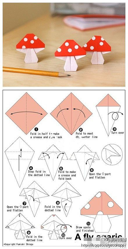 "Handmade DIY accessories cool to play tide matter origami ""mushroom"""