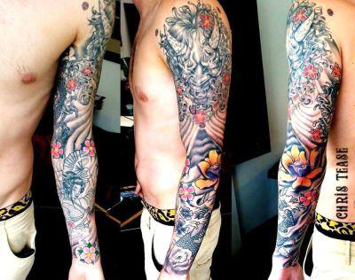 Sleeve by Irish tattoo artist Chris Tease