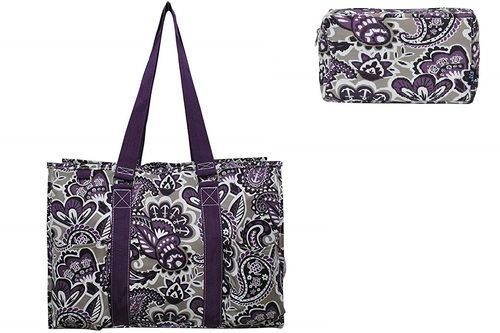 fe0d5a4fb57 Paisley Print Medium Canvas Utility Tote Bag Set-Purple in 2019 ...