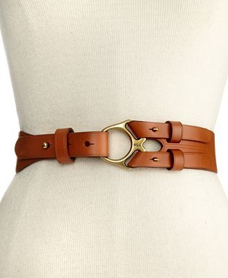 Lauren Ralph Lauren Belt, Vachetta Leather with Metal Ring