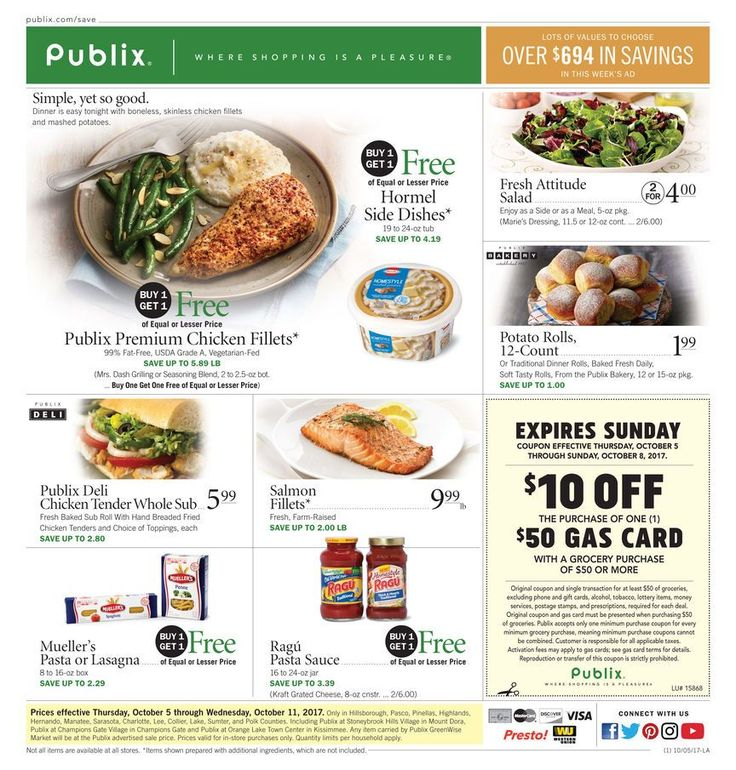 Publix Weekly Ad October 5 - 11 #grocery and #food savings #Publix circular United States