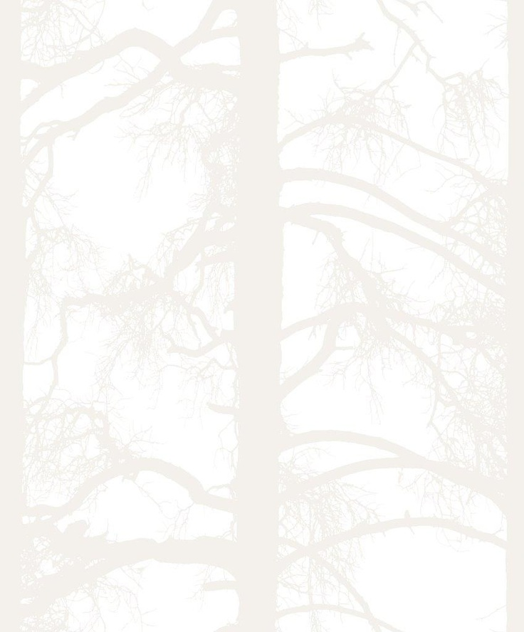 Kelohonka wallpaper, white. Design Tanja Orsjoki
