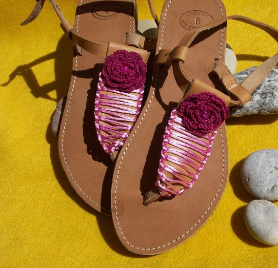 Sandals leather decorated with crochet flower handmade by ZoiO