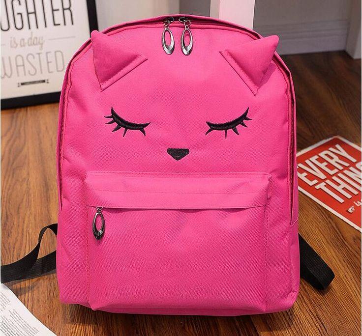2016 Cute Women Cat Ears Nylon Backpack Peasonality Travel Mountaineering Schoolbag For Teenager Boy Girls Rucksack