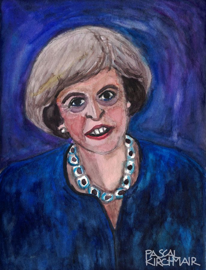 Theresa Mary May (née Brasier; born 1 October 1956) is a British politician who has served as Prime Minister of the United Kingdom since 2016. She has been the Member of Parliament (MP) for Maidenhead since 1997. She has been Leader of the Conservative Party since 2016. May identifies as a one-nation conservative and has been characterised as a liberal conservative. She is the second female Prime Minister and Conservative Party leader after Margaret Thatcher.  Watercolour, 24 x 32 cm