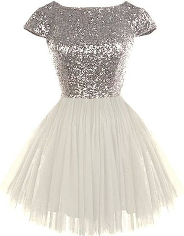 Dream State Dress | Silver Sequin White Tulle Cap Sleeve Dress | RicketyRack.com