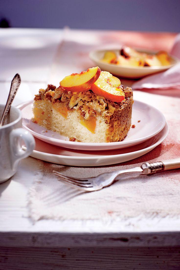 Fresh Peach Coffee Cake with Pecan Streusel Recipe