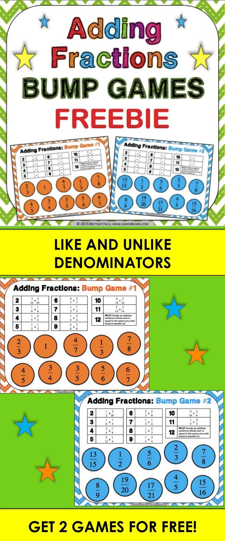 Adding fractions free adding fractions bump games skola