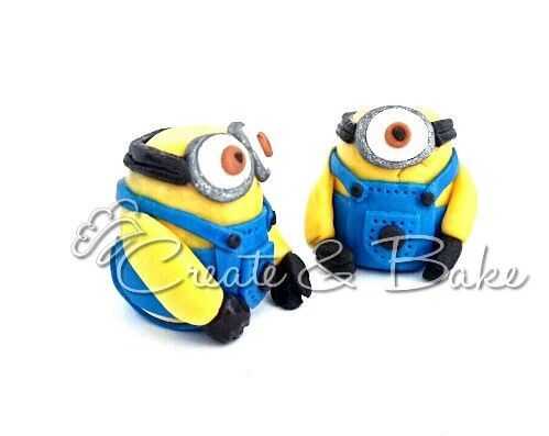 Fondant minion toppers . Cake creating in Cape Town, South Africa. www.createandbake.co.za