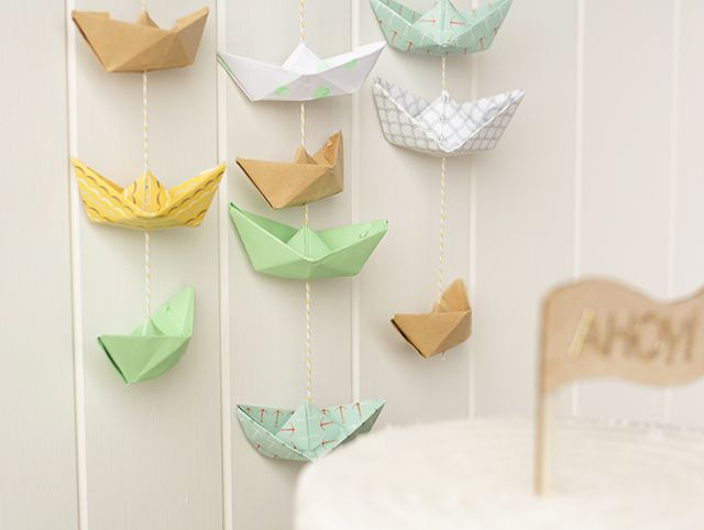 DIY mini paper boat garland - fun idea for a nautical themed party!