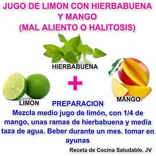 Descubre los motivos por los cuales se da el mal aliento y como remediarlo de forma natural con esta solución a base de limón, hierbabuena y mango. #remediosnaturales #halitosis