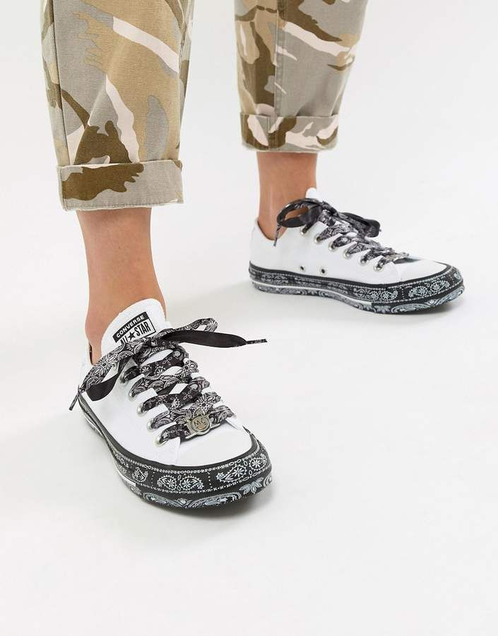 d286ab12cdd99c Converse X Miley Cyrus Chuck Taylor All Star Low Sneakers In White And  Black Bandana Print