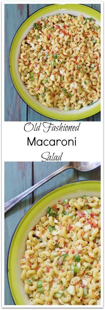 Old Fashioned Macaroni Salad. The forerunner of modern pasta salads. Creamy, cool, sweet and tart. Full of flavor and nostalgia.#syrupandbiscuits