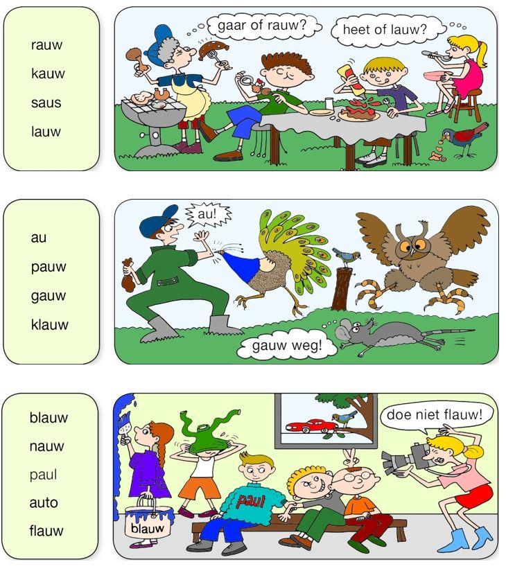 Au-woorden steunkaart van Veilig leren lezen Kim-versie.