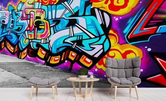 3d Blue Abstract Slogan Colorful Graffiti Wallpaper Mural Peel And Stick Wallper Removable Wall Prints Stickers Feature Wall Wallpaper B709 In 2021 Graffiti Wallpaper Mural Wallpaper Graffiti