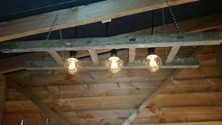 Lamp old ladder schuurt shed mancave
