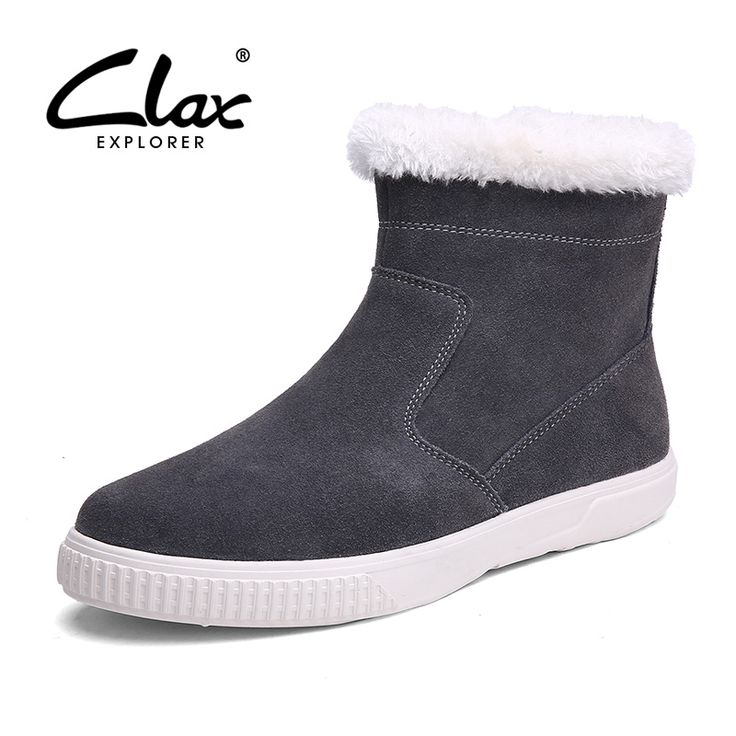 Clax Men Winter Boot Slip On 2016 Men's Snowshoes Suede Leather Snow Boots with Fur Warm Fashion