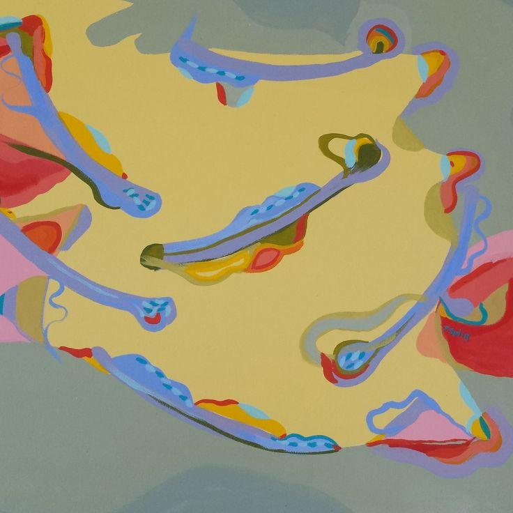 Jennifer Sulaj Resting Size: 65cm x 65cm Medium: Acrylics on canvas (white frame) Price: $650