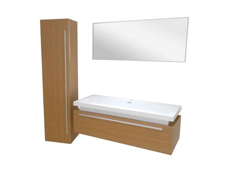 Waschtisch 120cm Badmöbel Set Unterschrank mit Aufsatzwaschbecken Akazie matt in Heimwerker, Bad & Küche, Badkeramik   eBay!