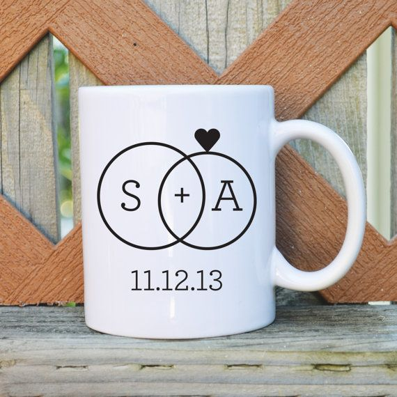 The perfect bridal shower gift for a coffee lover! Custom Wedding Coffee Mug with Initials and by TickledTealBoutique, $14.99
