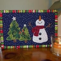 snowman and tree, small quilt or rug mug
