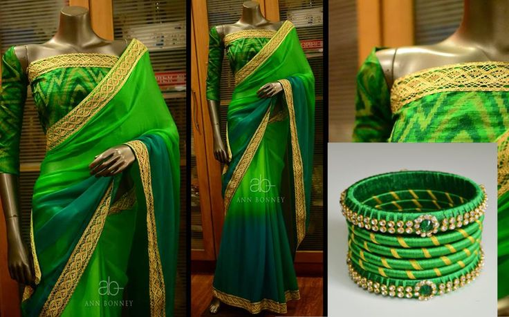 Green saree matching thread bangle