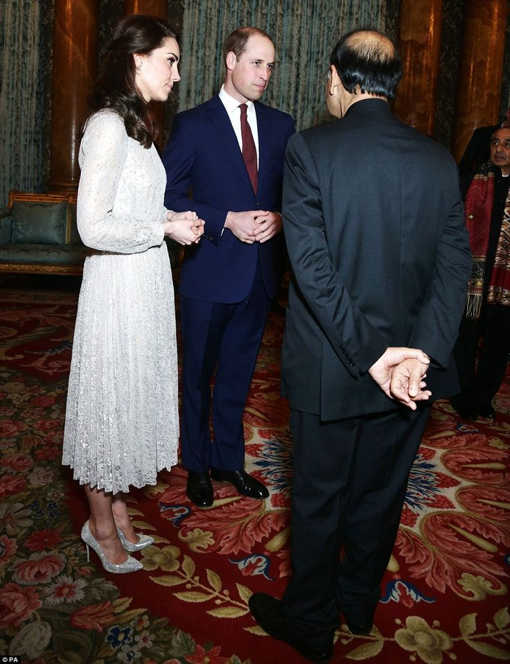 The Duke and Duchess of Cambridge, left, joined the Queen to host the reception tonight...
