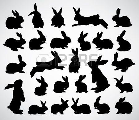 collection de silhouettes de lapin